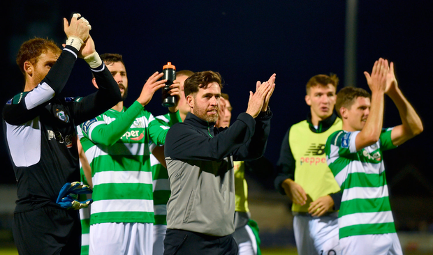 Shamrock Rovers manager Stephen Bradley and players applaud Shamrock Rovers supporters