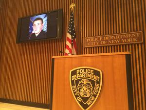 A tribute to Irish-American cop Brian Moore at the NYPD press conference following his death