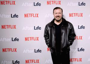 Ricky Gervais at the premiere of his Netflix show After Life