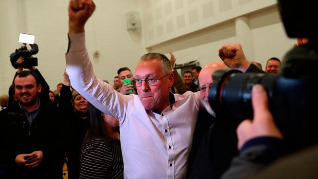 Sinn Fein candidate for Fermanagh South Tyrone Sean Lynch celebrates at the Omagh count centre having been deemed elected in Northern Ireland's Assembly election. Brian Lawless/PA Wire