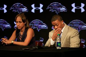 CCTV footage showed Ray Rice dragging fiancee Janay Palmer out of an elevator in a New Jersey casino after knocking her out. Photo credit: Rob Carr/Getty Images