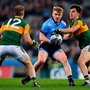 25 January 2020; Conor McHugh of Dublin in action against Brian Ó Beaglaoich, right, and Stephen O'Brien of Kerry during the Allianz Football League Division 1 Round 1 match at Croke Park in Dublin. Photo by Ben McShane/Sportsfile