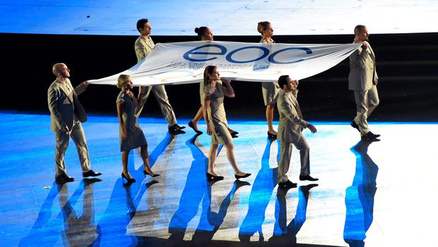 12 June 2015; Flag bearers, including Katie Taylor, front, second from right, carry the EOC Flag during the 2015 European Games Opening Ceremony at the Olympic Stadium in Baku, Azerbaijan. Picture credit: Stephen McCarthy / SPORTSFILE