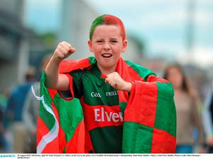 30 August 2015; Neil Kirby, aged 10, from Newport, Co. Mayo, on his way to the game. GAA Football All-Ireland Senior Championship, Semi-Final, Dublin v Mayo, Croke Park, Dublin. Picture credit: Dire Brennan / SPORTSFILE