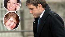 Sean Casey leaving Cork Circuit Criminal Court. Inset top: Meghan Johnston, who was killed after Casey's BMW crashed in Skibbereen. Inset bottom: Kate Petford was left paralysed.