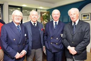 Jack Kyle (far right) at a presentation to honour Ireland's 1948 Grand Slam-winning team, with (from left) Jack Matthews, Jim McCarthy and Bleddyn Williams. Photo: Ray McManus / SPORTSFILE