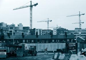 Cranes dot the Dublin skyline during the construction boom of the Celtic Tiger era.