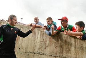 Mayo manager James Horan greets his side's supporters