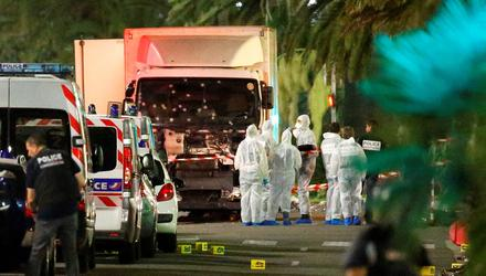 Why indeed: French police with the truck that drove into a crowd in Nice, killing 77 people. Photo: Reuters