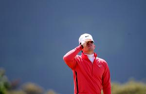 Rory McIlroy reacts to a missed putt on his final hole as he finished the day on 9 over par during day one of the Dubai Duty Free Irish Open at Royal County Down Golf Club, Newcastle.  Brian Lawless/PA Wire