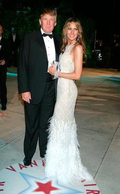 Donald Trump and wife Melania Trump arrives at the Vanity Fair Oscar Party at Mortons on February 27, 2005 in West Hollywood, California.  (Photo by Frazer Harrison/Getty Images)