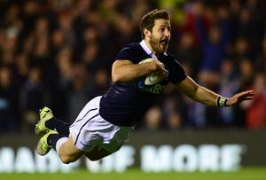 Scotand's Tommy Seymour scores a try late during his side's win over Argentina at Murrayfield. Photo: Mark Runnacles/Getty Images