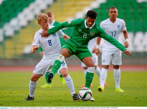 13 May 2015; xxx, Republic of Ireland, in action against yyy, England. UEFA European U17 Championship Finals Group D, Republic of Ireland v England, Stara Zagora, Bulgaria. Picture Credit: Pat Murphy / SPORTSFILE