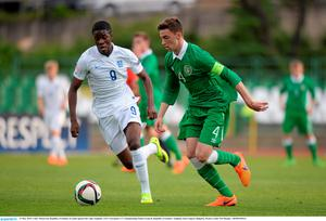 13 May 2015; Conor Masterson, Republic of Ireland, in action against Ike Ugbo, England. UEFA European U17 Championship Finals Group D, Republic of Ireland v England, Stara Zagora, Bulgaria. Picture credit: Pat Murphy / SPORTSFILE