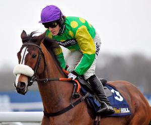 Jockey Tony McCoy on Kauto Star goes to post in the William Hill King George VI Steeple Chase at Kempton Park