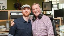 Miles Graham and Terry Wogan after Miles performed live on the Weekend Wogan BBC2 Radio Show in 2015. Photo by Colin Gillen