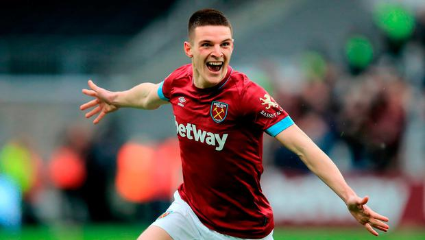 Declan Rice celebrates his first goal for West Ham last month. (Photo by Marc Atkins/Getty Images)