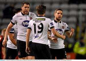 24 March 2015; Dundalk's Darren Meenan, right, after scoring his side's third goal. SSE Airtricity League, Premier Division, Bohemians v Dundalk. Dalymount Park, Dublin. Picture credit: Pat Murphy / SPORTSFILE