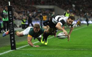 Luke Morahan scores the fourth try for the Barbarians during their drawn match against South Africa at Wembley. Photo by Christopher Lee/Getty Images for Barbarians