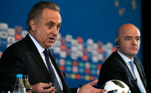 Vitaly Mutko with FIFA President Gianni Infantino in Moscow last Friday. Photo: PA