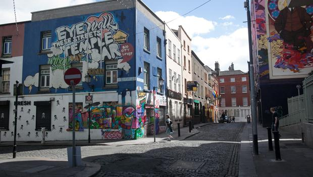 28/06/2015   Cope Street Temple Bar where a man was left in critical condition after after a stabbing incident. Photo: Gareth Chaney Collins
