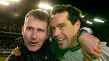 David Forde celebrates with Stephen Kenny after Derry City's victory in the 2006 FAI Cup final. Photo: David Maher / Sportsfile