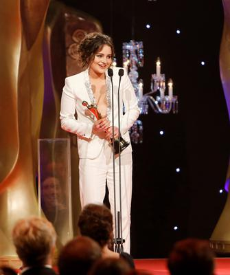 Aisling Franciosi who received the award for the best actress in a supporting role in a drama for The Fall Series 2 at the IFTA Awards 2015 at the Mansion House, Dublin. Photo by Kyran O'Brien