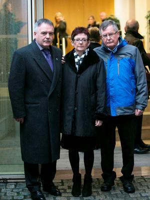 Brendan Megraw's siblings Sean Megraw, Deirdre Carnegie and Sean Megraw at the Coroner's Court