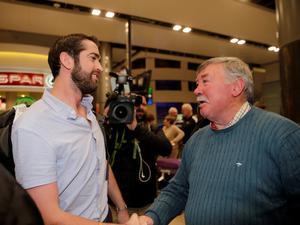 29/4/15 Patrick Lyttle with his father Oliver as he arrives home at Dublin Airport from Australia. Picture:Arthur Carron