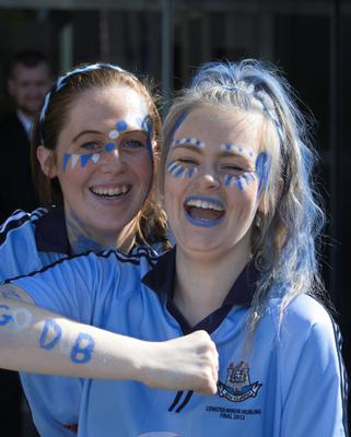 22/09/2013  Aisling Fitzpatrick  Laura tallon both from fox rock at the All ireland Senior Football Final between Dublin & Mayo in Croke Park, Dublin. Photo:  Gareth Chaney Collins