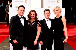(left to right) Anthony McPartlin, Lisa Armstrong, Declan Donnelly and Ali Astall arrive for the House of Fraser British Academy of Television Awards at the Theatre Royal, Drury Lane in London. PRESS ASSOCIATION Photo. Picture date: Sunday May 10, 2015. See PA story SHOWBIZ Bafta. Photo credit should read: Ian West/PA Wire