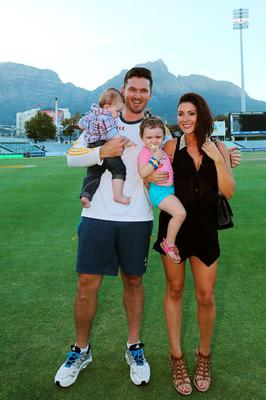 Graeme Smith of South Africa stands with his wife Morgan Deane and children Cadence and Carter after the match during day 5 of the third test match between South Africa and Australia