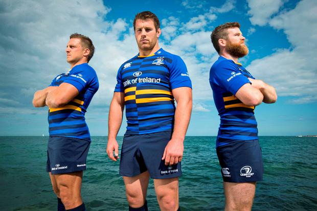 Leinster's Jimmy Gopperth, Sean O'Brien and Gordon D'Arcy model the new shirt