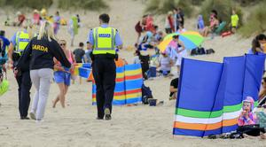 Gardaí on Curracloe Beach Picture; Gerry Mooney.