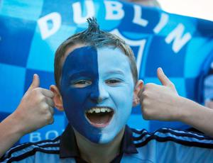 Dublin fan Conall Gliasain (9) from Blanchardstown in Merrion Square during arrival celebrations of the Dublin GAA team