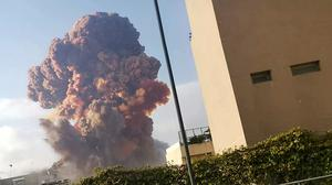 A huge mushroom cloud after the port explosion that reduced much of the city to rubble