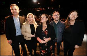 Sinn Fein President Mary Lou McDonald and her party addressing a rally at Liberty Hall. Pic Steve Humphreys 25th February 2020