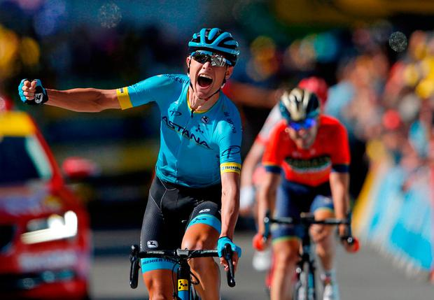 Magnus Cort Nielsen celebrates after winning yesterday's stage of the Tour de France. Photo: Stephane Maher/Reuters