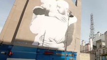 Giant mural on the corner of Dame Street is the work of artist Joe Caslin who hopes to get people talking about the referendum.