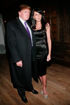 "Donald Trump and Melania Knauss attend the launch party for the new photo book, ""Backstage Sexy"" at Spice Market February 11, 2003 in New York City. (Photo by Evan Agostini/Getty Images)"