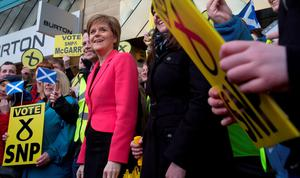 SNP leader Nicola Sturgeon on the General Election campaign trail in Glasgow Fort Shopping Park in the Glasgow East parliamentary seat. Photo: PA
