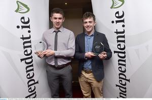28 April 2015; UCD players David Byrne, left and Niall Kelly after being presented with their Independent.ie HE GAA Rising Stars Football Awards, at the Independent.ie HE GAA Rising Stars Awards. Croke Park, Dublin. Picture credit: David Maher / SPORTSFILE