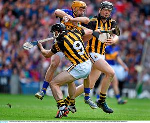 7 September 2014; Shane McGrath, Tipperary, in action against Conor Fogarty, 9, and Walter Walsh, Kilkenny. GAA Hurling All Ireland Senior Championship Final, Kilkenny v Tipperary. Croke Park, Dublin. Picture credit: Brendan Moran / SPORTSFILE