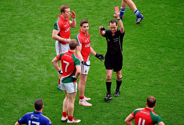 Mayo's Lee Keegan is shown a red card by referee David Coldrick during the All-Ireland semi-final against Kerry. Photo: Pat Murphy / SPORTSFILE