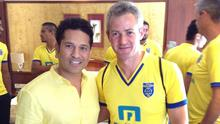 Master Blaster: Ciarán Deely with India cricket legend Sachin Tendulkar, a part owner of Kerala Blasters FC, during his spell as a fitness coach in India.