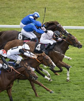 Intercessor ridden by Cieren Fallon (no 4) wins the It's Not Rocket Science with MansionBet Novice Stakes at Newbury Racecourse. Photo credit: Edward Whitaker/PA Wire