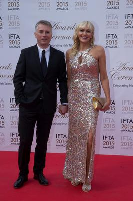 24/5/15 Miriam O'Callaghan and husband Stephen Carson pictured on the red carpet at the IFTA Awards at the Mansion House in Dublin. Picture: Arthur Carron