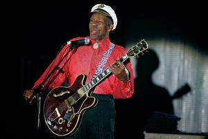 American guitarist, singer and songwriter Chuck Berry performs during the 'Rose Ball' in Monaco on March 28, 2009. Photo: AP