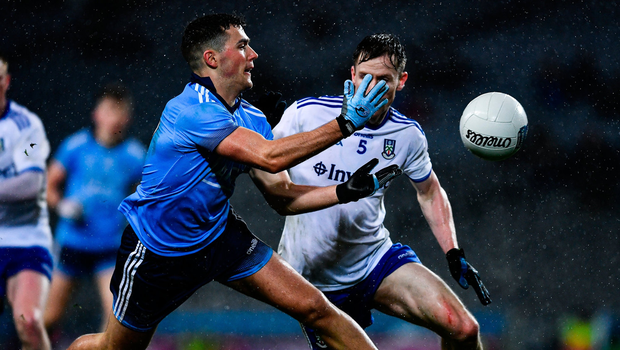 Colm Basquel of Dublin in action against Karl O'Connell of Monaghan. Photo by Ray McManus/Sportsfile