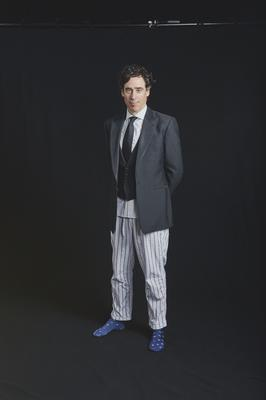 Stephen Mangan in pyjama bottoms filming the British Academy Television Craft Awards (British Academy Television Craft Awards)